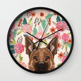 German Shepherd florals flowers spring pet portrait dog art funny german shepherd painting art Wall Clock