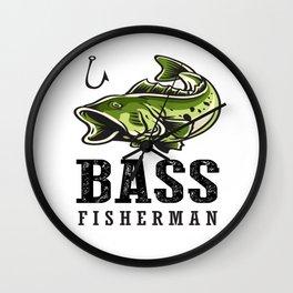 Loudmouth Sea Bass Fisherman's Fishing Fish Men's Fishermen Wall Clock