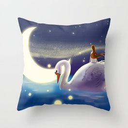 Beautiful Fly Swan And Girl Throw Pillow