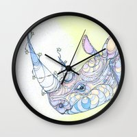 rhino Wall Clocks featuring Rhino by Kate Fitzpatrick