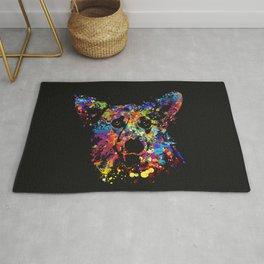Colorful  Corgi Portrait Rug