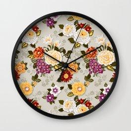 flowerily -grey Wall Clock