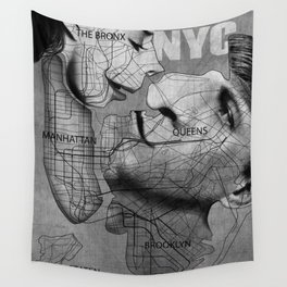 NYC MAP Gentle Kiss Wall Tapestry