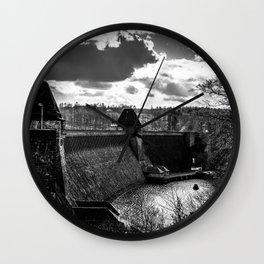 Möhne Reservoir Barrage Wall Sauerland Germany bw Wall Clock