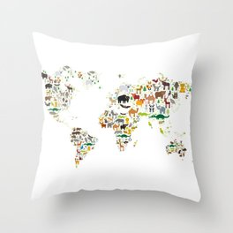 Cartoon animal world map for children and kids, Animals from all over the world on white background Throw Pillow