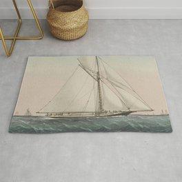 Vintage Cutter Sailing Yacht Illustration (1887) Rug