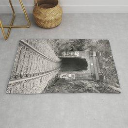 Bellingham Railroad Tunnel, Washington Trains, Northwest Landscape, Sepia Print Rug