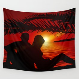 Silhouette Pair Sunset Tree Longing Love Wall Tapestry