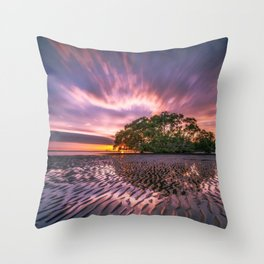 Broadleaf In Watts At Sunset Magenta Satuation Throw Pillow