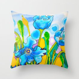 Blue Poppies 1 of Belize Throw Pillow