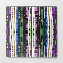 Fuchsia and white, teal and black multicolor Metal Print