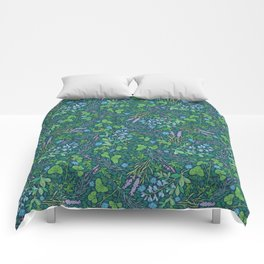 Lavender and lupine with cornflowers on herbal background Comforters