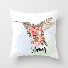 Hummingbird and roses. Romantic design Throw Pillow