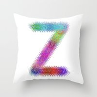 letter Throw Pillows featuring Letter Z by David Zydd