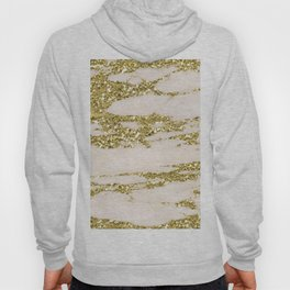 Marble - Gold Marble Glittery Light Pink and Yellow Gold Hoody