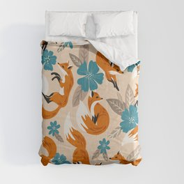 Foxes & Blooms – Tan & Blue Comforters