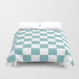 Chalky Blue Checkers Pattern Duvet Cover