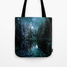 Winter Forest Teal Tote Bag