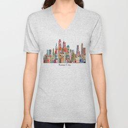 kansas city Missouri skyline Unisex V-Neck