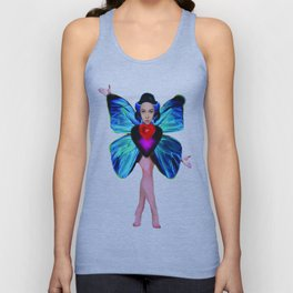 Butterfly Lady / white background Unisex Tank Top