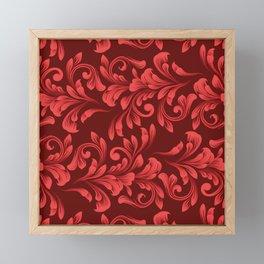 Monochrome Red Garland - Vintage Inspired Holiday Pattern Framed Mini Art Print