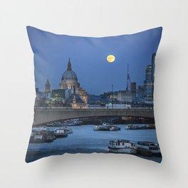 Full Moon in London Throw Pillow