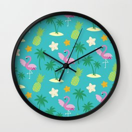 Summer Pattern + Flamingo + Palm Trees + Pineapple Wall Clock