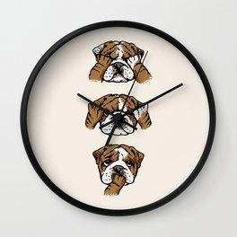 No Evil English Bulldog Wall Clock