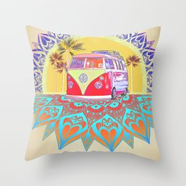 "BusLife Vintage Inspired ""Live Free"" Poster print Throw Pillow"