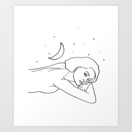 The Moon & the stars would follow her wherever she would go #lineart #drawing Art Print