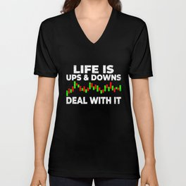 Life ups and downs chart stock trading Unisex V-Neck