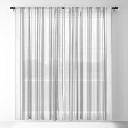 Gray blue ticking stripes Sheer Curtain
