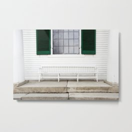White Bench Green Shutters Metal Print