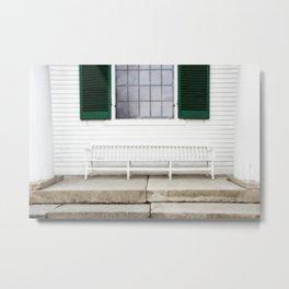 White Bench Green Shutters Metal Print