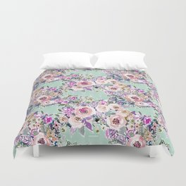 Mint SO LUSCIOUS Painterly Floral Duvet Cover