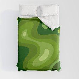 Multi Color Green Liquid Abstract Design Duvet Cover
