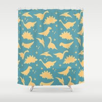 trex Shower Curtains featuring Dinosaurs by Cyan Rose