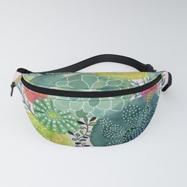 Succulent Circles on Pink Fanny Pack