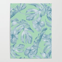 Tropical Leaves and Flowers Luxe Pastel Sea Turquoise Blue Green Poster