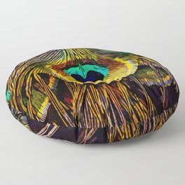 The Tail of a Peacock Floor Pillow