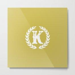 Mustard Yellow Monogram: Letter K Metal Print
