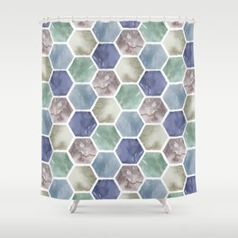 Cold Hexagones Shower Curtain