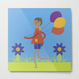 A boy with his balloons. Metal Print