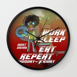 work, sleep, eat, repeat Wall Clock