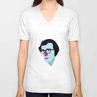 woody allen V-neck T-shirts featuring Woody Allen by Garuda and Hany