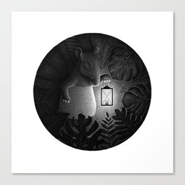 Tapirs are night creatures | Black and White Illustration Canvas Print