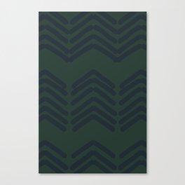 "Zora""s chevron pattern - navy on green Canvas Print"
