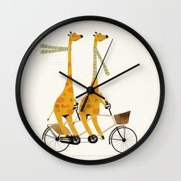 lets tandem giraffes Wall Clock