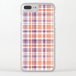 Varsity plaid purple orange and white clemson sports college football universities Clear iPhone Case