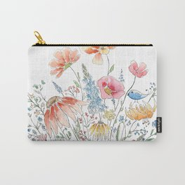 wild flower bouquet and blue bird- ink and watercolor 2 Carry-All Pouch
